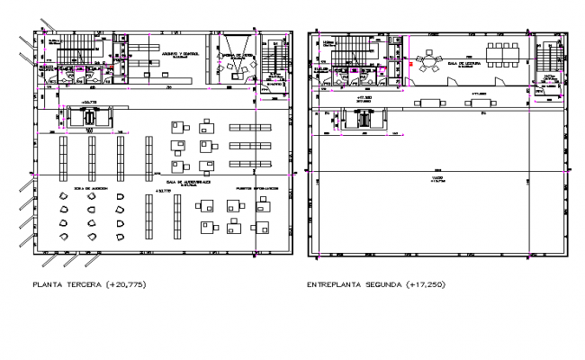 3rd and 4th floor plan of public library.