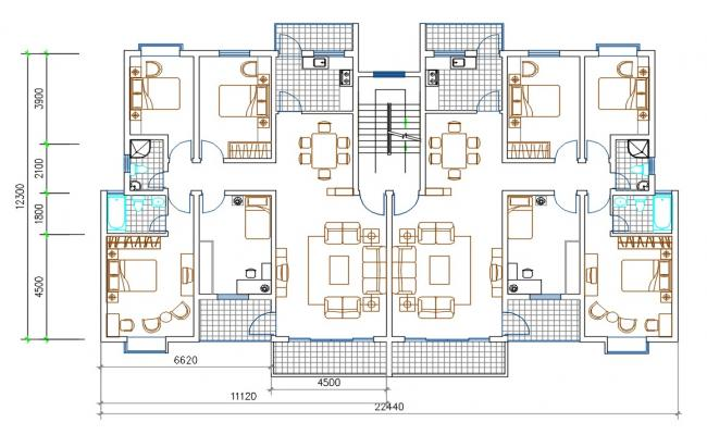 4 BHK Apartment House Layout Plan AutoCAD File