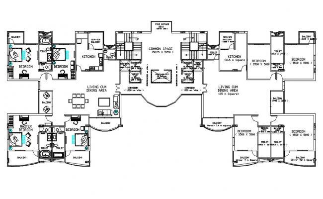 4 BHK Apartment Plan AutoCAD file