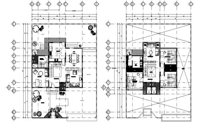 4 BHK Furnished Mansion AutoCAD Drawing Plan