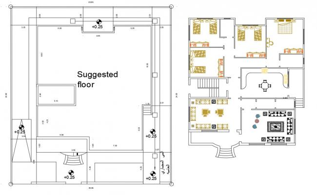 4 Bedroom House Furniture Layout Plan DWG File