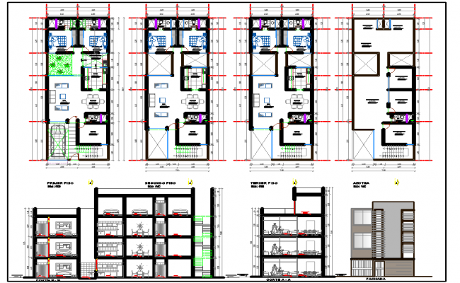 4 Level residence House plan drawing