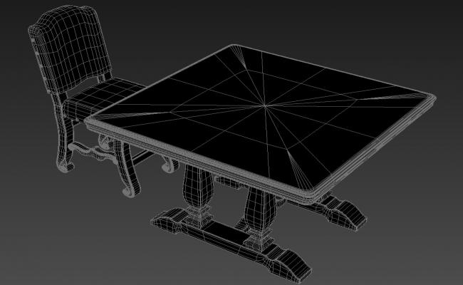 4 Seater Square Dining Table 3D MAX File