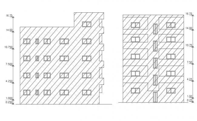 4 Storey Apartment Elevation Design DWG