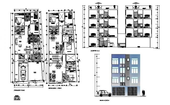 4 Storey Residential Apartment 7.58mtr x 20.03mtr with Elevation in dwg file