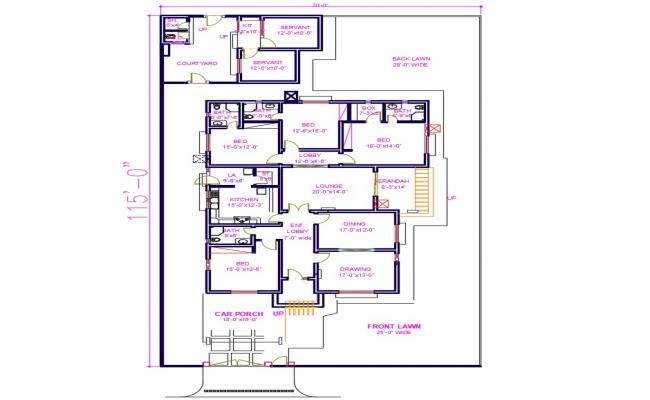 4 bhk Flat Plan
