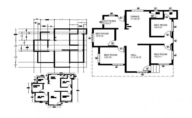 4 bhk house plan cad files for House plan cad file