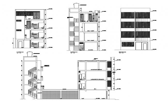 4 storey building with elevation and section in AutoCAD