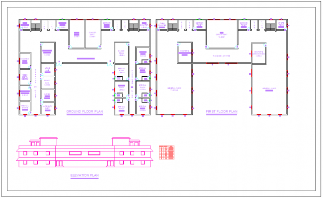 Plan Elevation Section Of Hospital : Layout plan of hospital with elevation