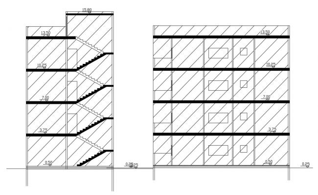 4 Storey House Building Sectional Drawing Free Download
