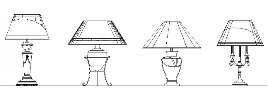 4 types of table lamp drawing in dwg file.