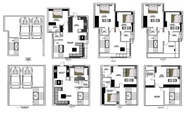 5 BHK Luxurious Bungalow Furniture Layout Plan AutoCAD File