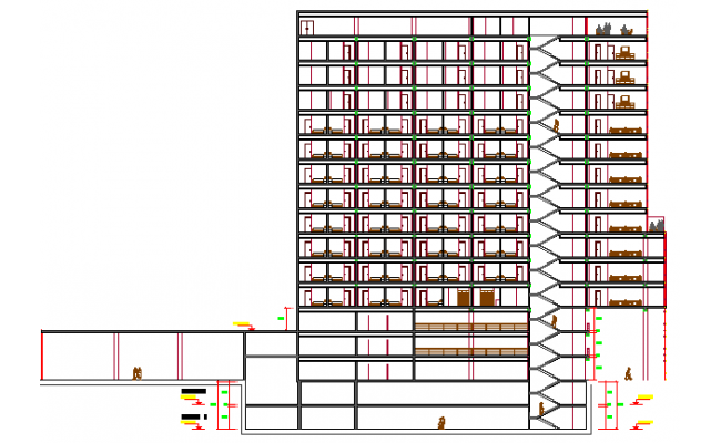 5 Star Hotel Design and Elevation Plan dwg file