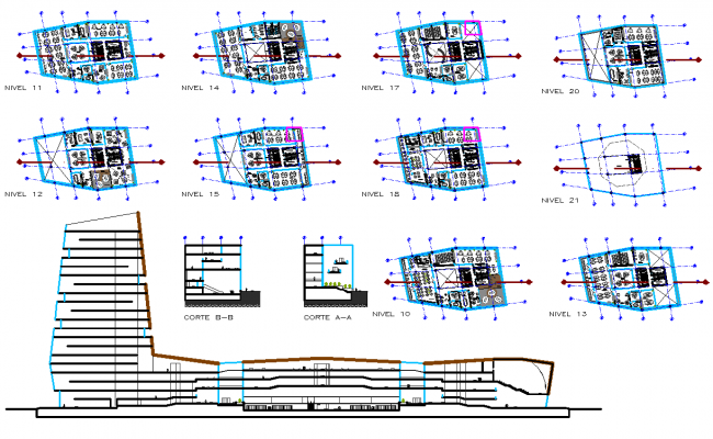 5 Star Hotel project layout plan and elevation design