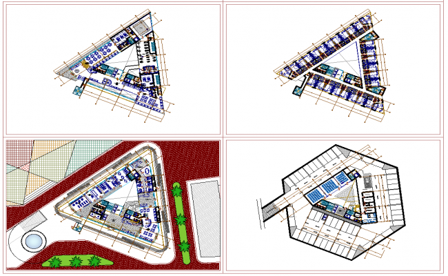 5 Star Hotel project layout plan dwg file