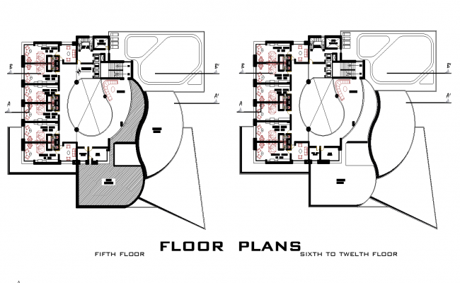 5 Star hotel section plan detail dwg file.