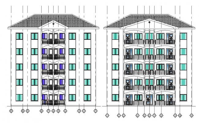5 Story Apartments  Elevation with Basic Rendered AutoCAD Drawing File Free
