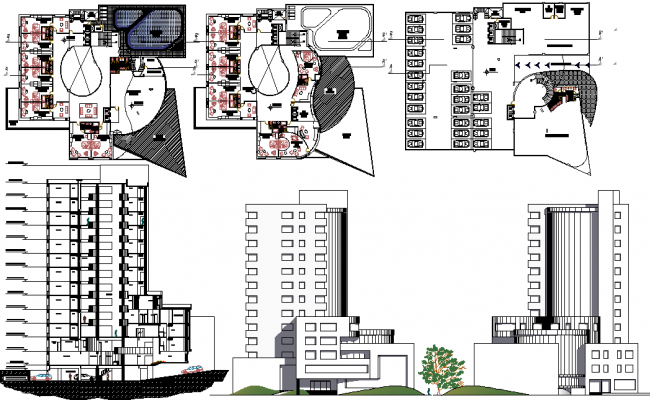 5 star hotel section elevation for Hotel design 3 stars