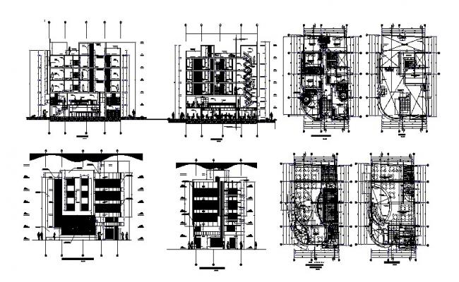 5 storey hotel building 10.90mtr x 18.25mtr plan in dwg file