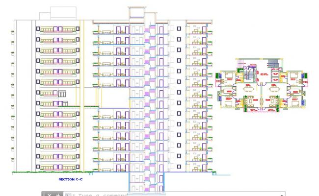 2 BHK lay-out house plan