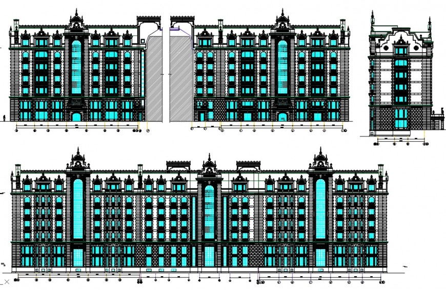 5 star hotel elevation design cad file