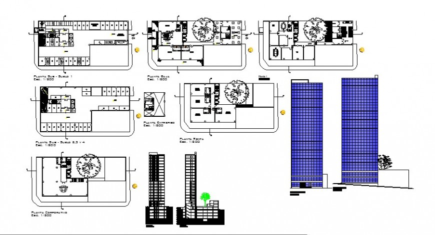 5 star hotel project autocad file