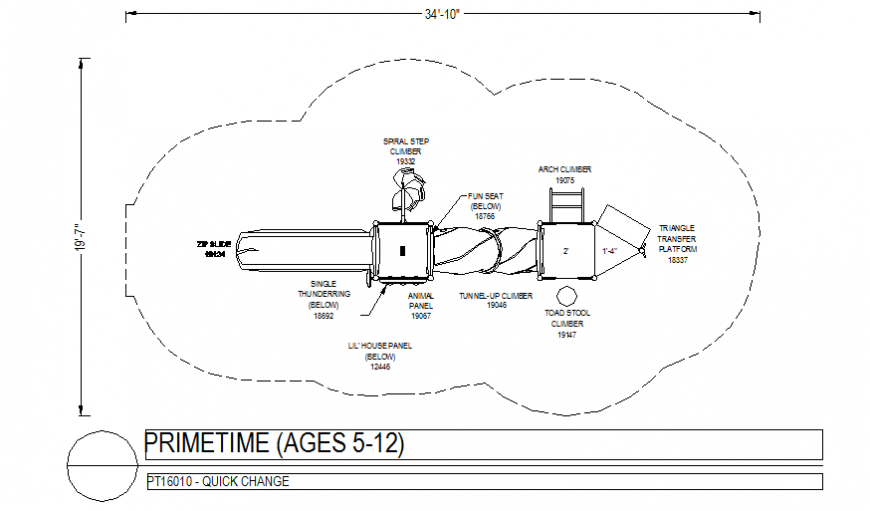 5 to 12 years children prime time playing area plan dwg file