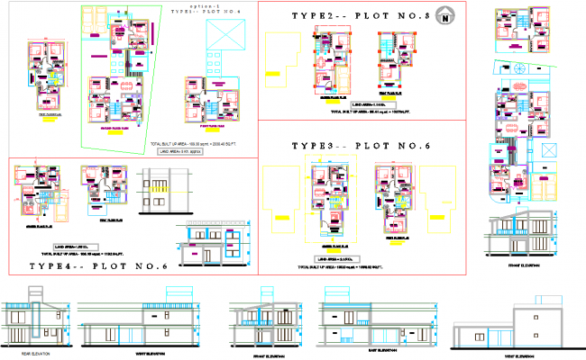6 type of bungalows architecture plan and elevations