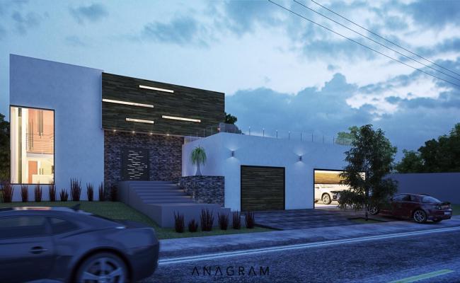 Modern residence house 3d
