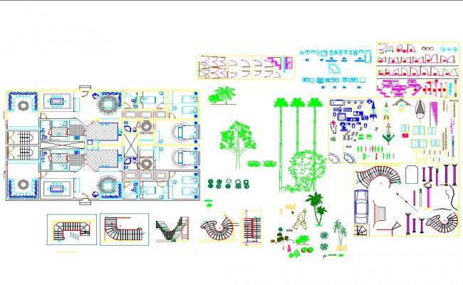 Autocad cad blocks of interiors and architecture