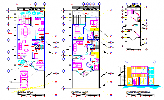 Architectural layout of single family residential house design drawing