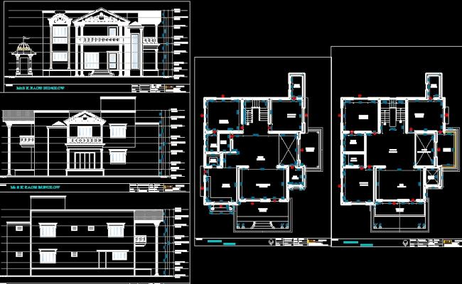Villa Elevation Plan : Modern bungalow plan