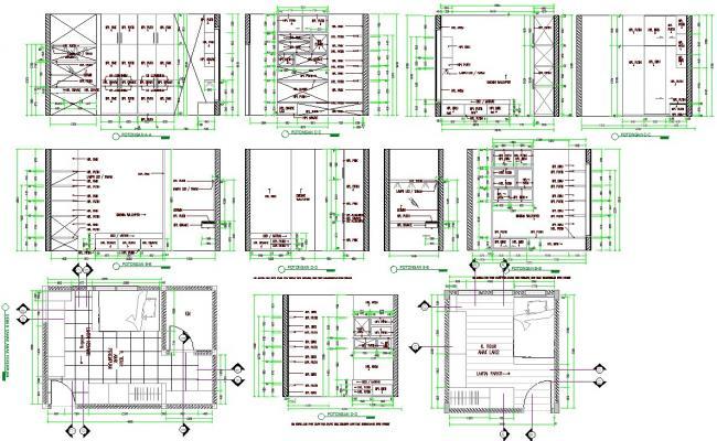 Bedroom interiors detail in Autocad