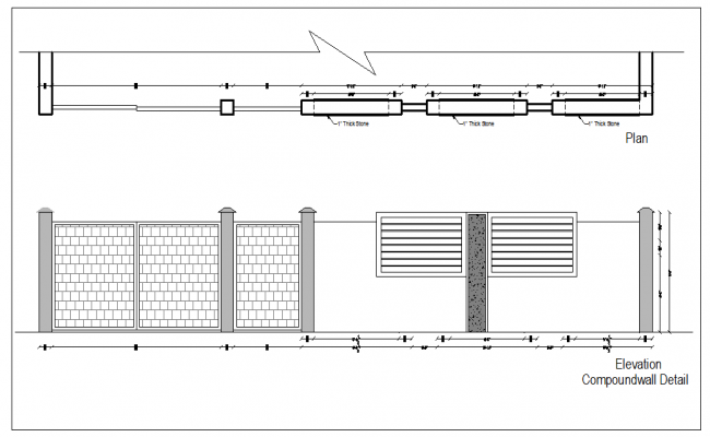 Compound Wall Design Autocad : Gate and compound wall design