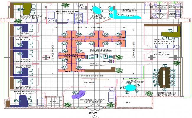 Bank interiors layout plan
