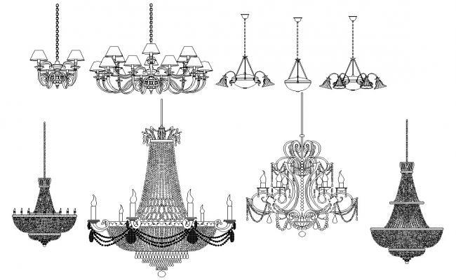 Breathtaking Chandelier Lights Cad Blocks Contemporary ...