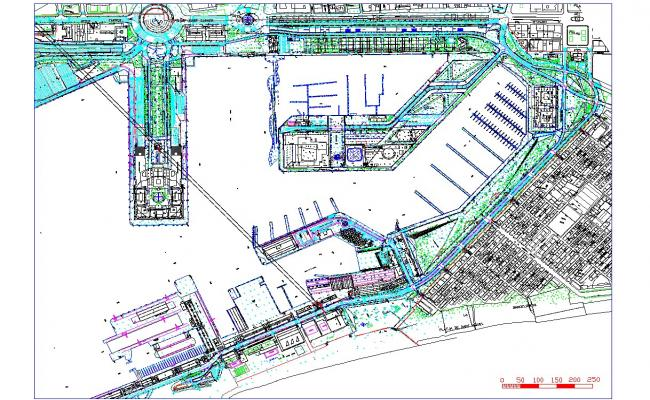 Port architecture drawing and plan in autocad dwg files