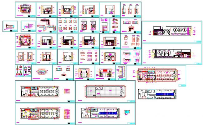 Restaurant interiors design and detail in autocad files
