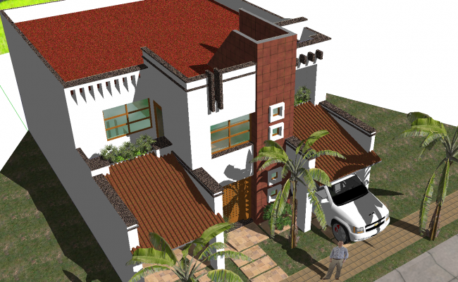 3d residence modern house
