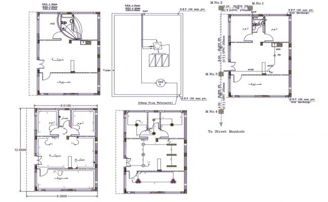 9 X12 Meter House Electrical And Plumbing Layout Plan