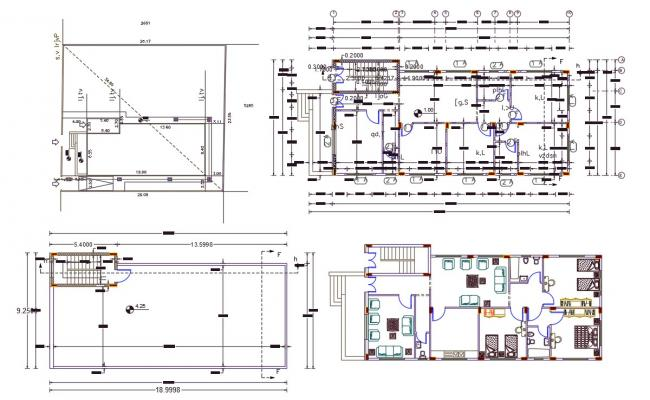 9 X 19 Meter House Center Line Plan With Furniture Design