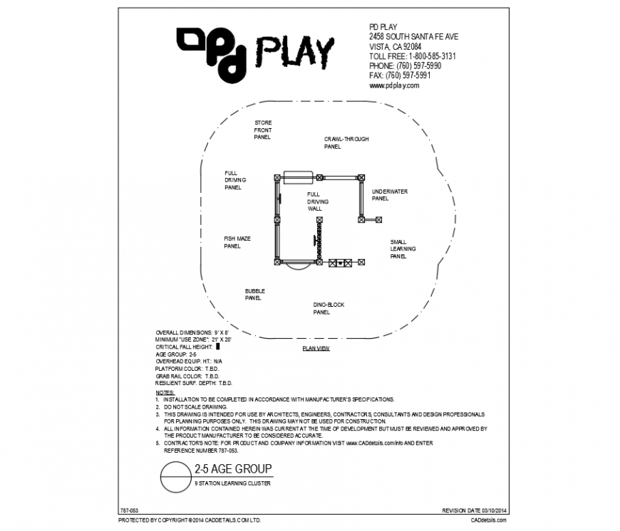 9 station learning cluster play equipment details of garden dwg file