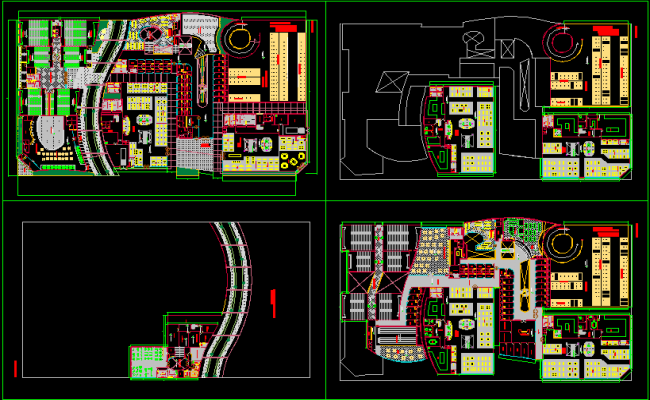 shopping mall plan elevation section dwg, Shopping complex dwg.