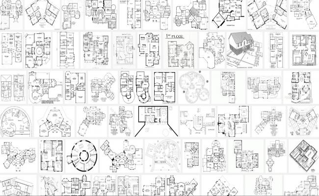 1001 Modern house floor plan autocad files
