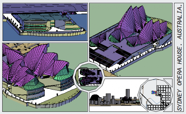 Sydney Opera house Australia 3D design drawing