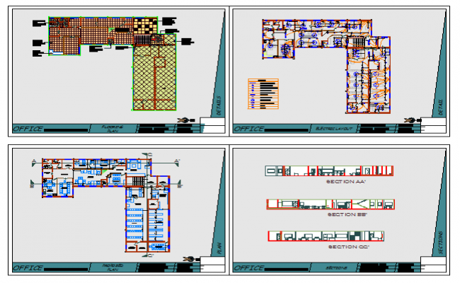 college interior Lay-out & Elevation