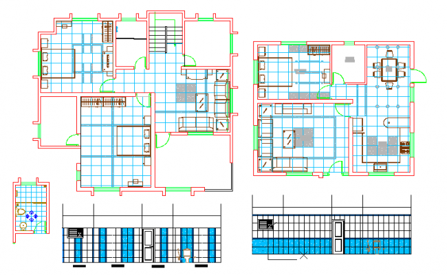 Duplex House Layout & bathroom Detail