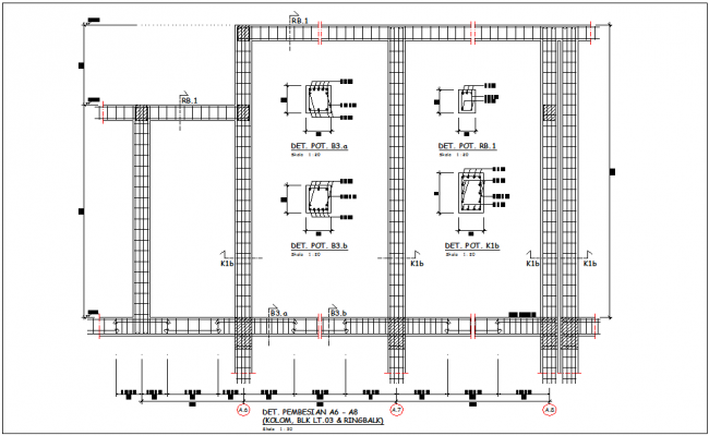 A-6 to A-8 column,block and ring balk construction detail view for government building view dwg file