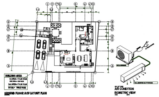 A.C plan in ground floor plan detail dwg file