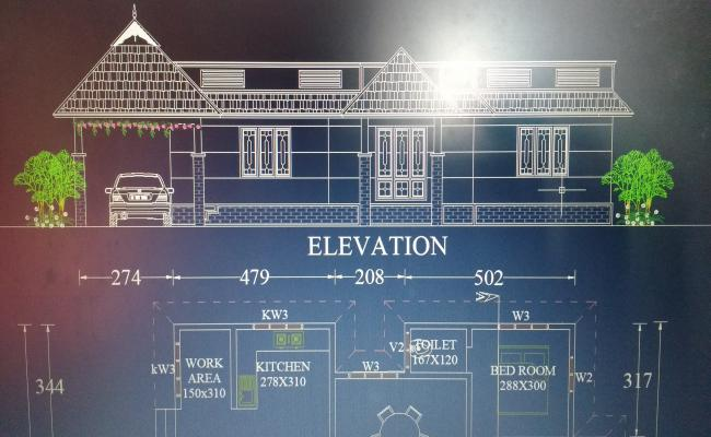 AUTOCAD  3 BED ROOM HOME